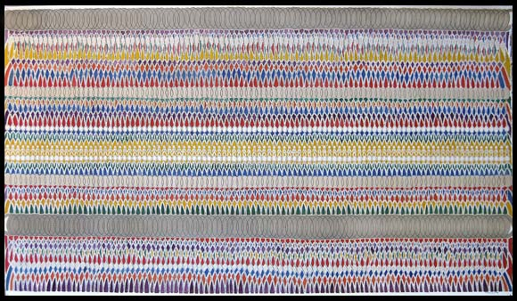 "Tapestry. (2007). 29"" H x 51"" W (75 cm x 130 cm). Used motor oil mixed media on paper"