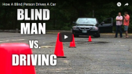 A blind man drives a car for the first time